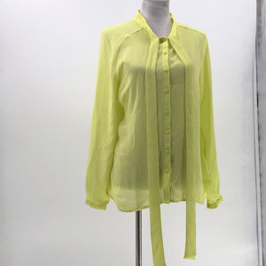 Worthington button up blouse yellow green sz L